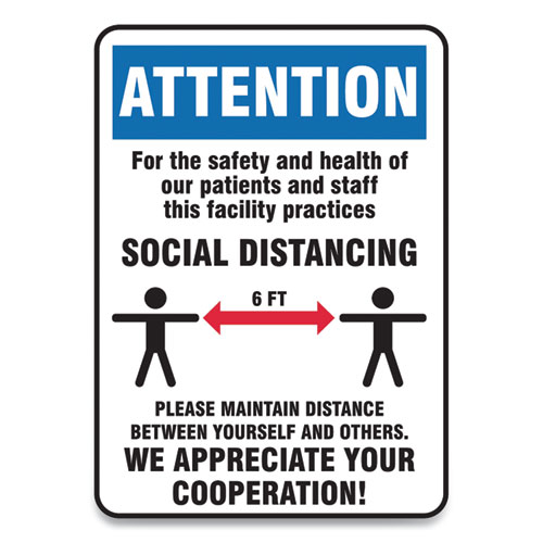Social Distance Signs, Wall, 14 x 7, Patients and Staff Social Distancing, Humans/Arrows, Blue/White, 10/Pack