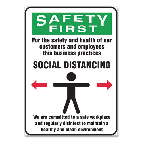 Social Distance Signs, Wall, 14 x 10, Customers and Employees Distancing Clean Environment, Humans/Arrows, Green/White, 10/Pk