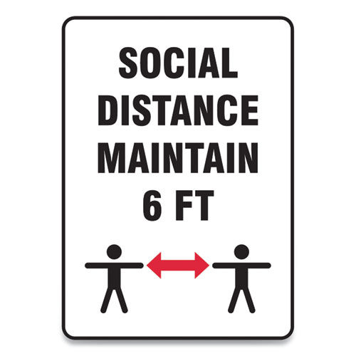 Social Distance Signs, Wall, 10 x 7, Social Distance Maintain 6 ft, 2 Humans/Arrows, White, 10/Pack