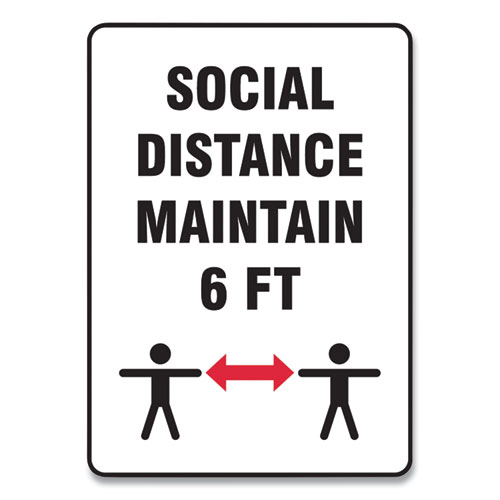 Social Distance Signs, Wall, 14 x 10, Social Distance Maintain 6 ft, 2 Humans/Arrows, White, 10/Pack