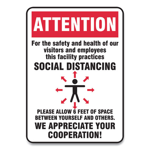 Social Distance Signs, Wall, 14 x 10, Visitors and Employees Distancing, Humans/Arrows, Red/White, 10/Pack