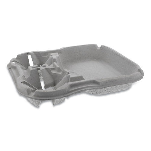 EarthChoice Two-Cup Carrier with Food Tray, 8-46 oz, Two Cups, 100/Carton