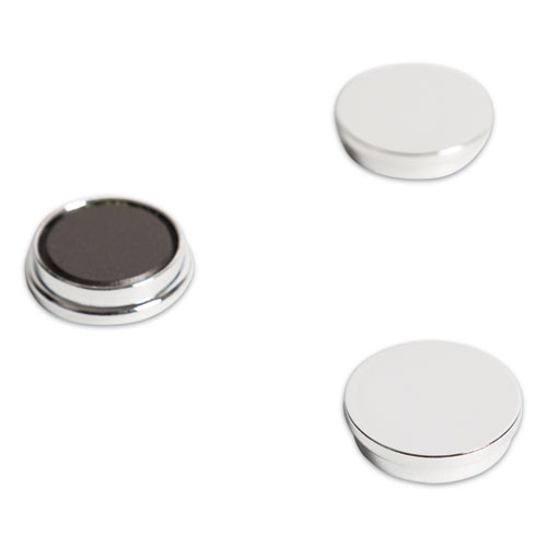 High-Intensity Board Magnets, Circles, Silver, 1.25, 10/Pack
