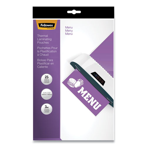 Laminating Pouches, 3 mil, 12 x 18, Gloss Clear, 25/Pack