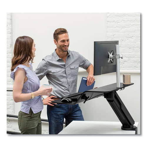 "Fellowes® Lotus RT Sit-Stand Workstation, 48"" x 30"" x 42.2"" to 49.2"", Black"