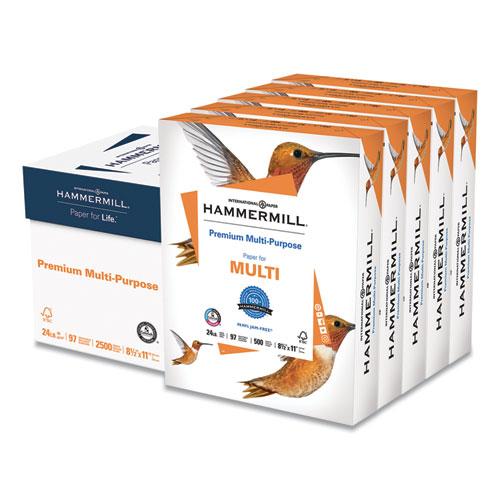 Premium Multipurpose Print Paper, 97 Bright, 24lb, 8.5 x 11, White, 500 Sheets/Ream, 5 Reams/Carton