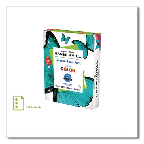 Premium Laser Print Paper, 98 Bright, 3-Hole, 24lb, 8.5 x 11, White, 500/Ream