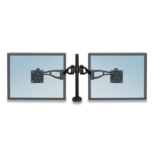 Professional Series Depth Adjustable Dual Monitor Arm, 360 deg Rotation, 37 deg Tilt, 360 deg Pan, Black, Supports 24 lb