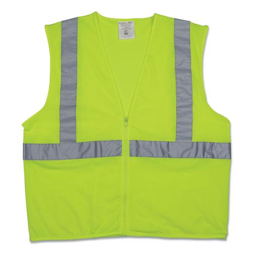 Zipper Safety Vest, Hi-Viz Lime Yellow, X-Large
