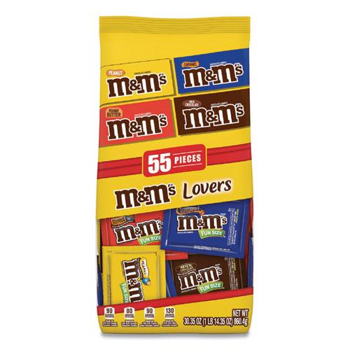 M & M's® Fun Size Variety Mix, Caramel, Milk Chocolate, Peanut, Peanut Butter Flavors, 30.35 oz Bag, 55 Packs/Bag