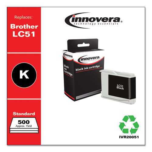Remanufactured Black Ink, Replacement for Brother LC51BK, 500 Page-Yield