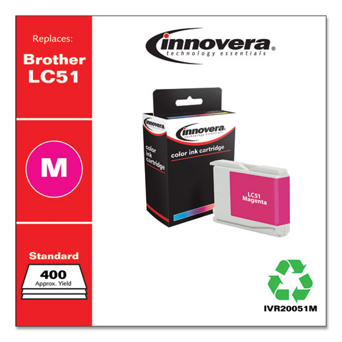Remanufactured Magenta Ink, Replacement for Brother LC51M, 400 Page-Yield
