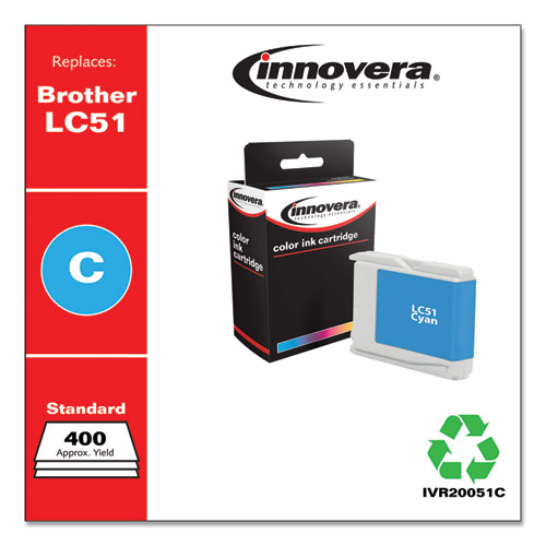 Remanufactured Cyan Ink, Replacement for Brother LC51C, 400 Page-Yield