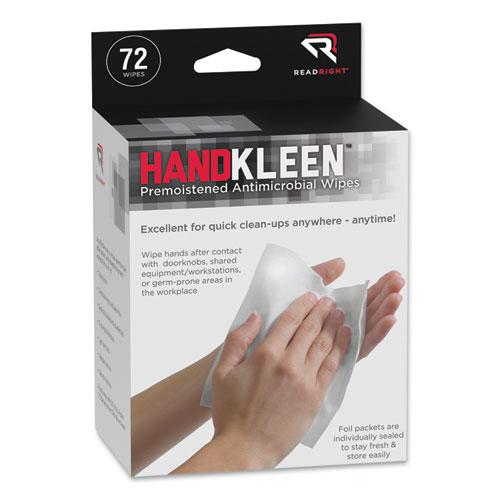 Read Right® HandKleen Premoistened Antibacterial Wipes, Cloth, 5.5 x 6.5, 70/Tub