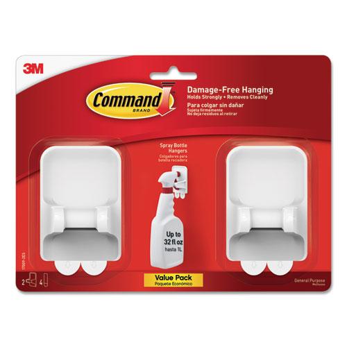 Command™ Spray Bottle Holder, 2.34 x 1.69 x 3.34, White, 2 Hangers/4 Strips/Pack