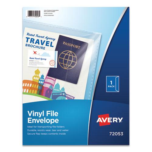 Vinyl File Envelope, Letter Size, Clear