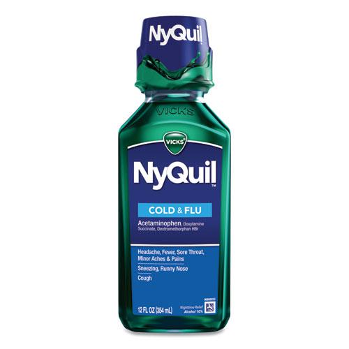 NyQuil Cold  Flu Nighttime Liquid, 12 oz Bottle, 12/Carton