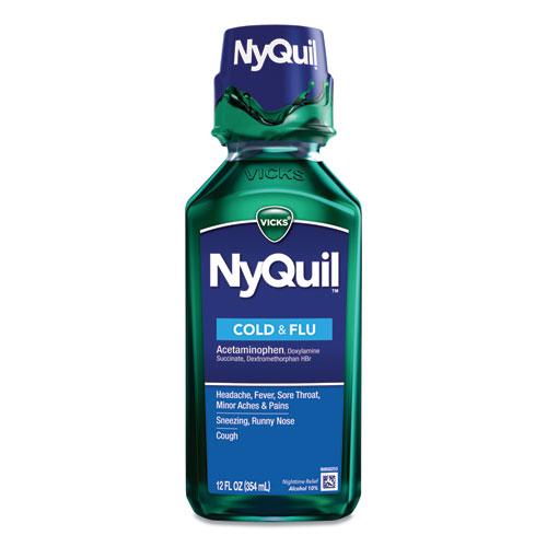 NyQuil Cold  Flu Nighttime Liquid, 12 oz Bottle