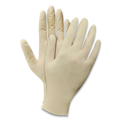 Disposable Powder-Free Latex Gloves, Natural White, Large, 100/Box