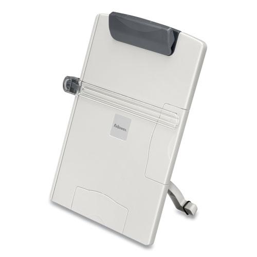 Desktop Easel-Style Copyholder, Plastic, 150 Sheet Capacity, Platinum/Gray