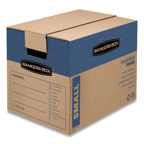 SmoothMove Prime Moving/Storage Boxes, Small, Regular Slotted Container (RSC), 16 x 12 x 12, Brown Kraft/Blue, 10/Carton