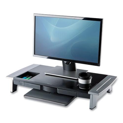 Office Suites Premium Monitor Riser, 27 x 14 x 4 to 6.5, Black/Silver