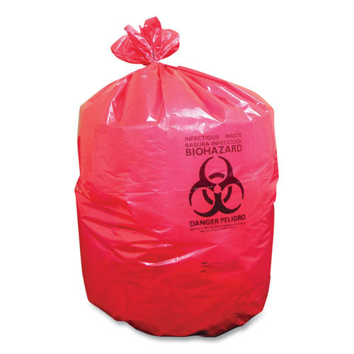 Coastwide Professional™ Biohazard Can Liners, 33 gal, 33 x 39, Red, 150/Carton