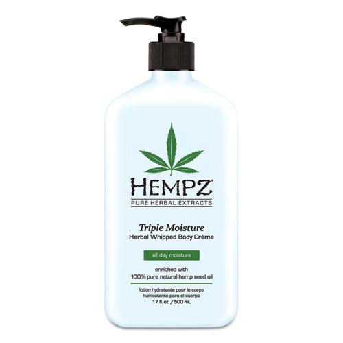 Hempz® Triple Moisture Herbal Whipped Body Creme, 17 oz Pump Bottle, Grapefruit and Peach