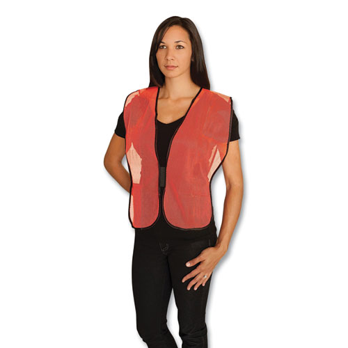 Hook and Loop Safety Vest, Hi-Viz Orange, One Size Fits Most