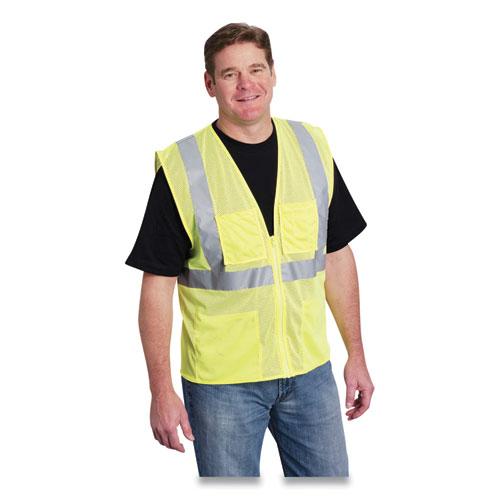 Zipper Safety Vest, Hi-Viz Lime Yellow, 2 Lower and 2 Upper Chest Pockets, Large