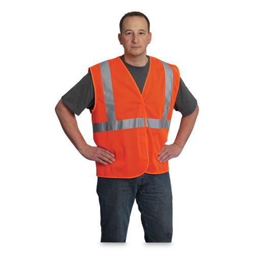 ANSI Class 2 Hook and Loop Safety Vest, Hi-Viz Orange, Large
