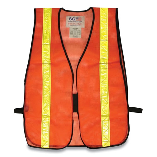 Hook and Loop Safety Vest, Hi-Viz Orange with Yellow Prismatic Tape, One Size Fits Most