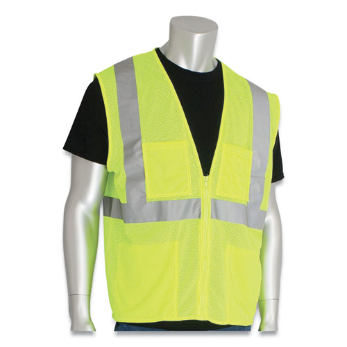 Zipper Safety Vest, Hi-Viz Lime Yellow, 2 Lower and 2 Upper Chest Pockets, 4X-Large