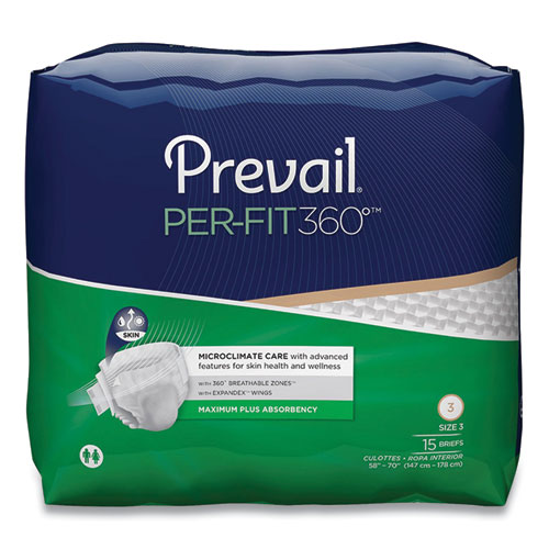 """Prevail® Per-Fit360 Degree Briefs, Maximum Plus Absorbency, Size 3, 58"""" to 70"""" Waist, 60/Carton"""