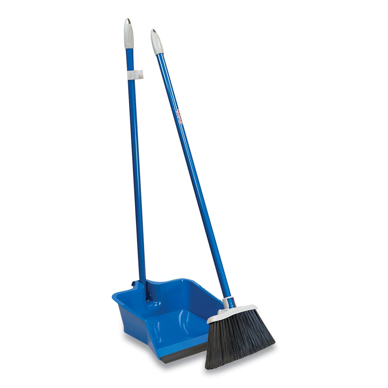 Flip-Lock Dust Pan and Lobby Broom, 30 High, Powder Coated Steel, Blue