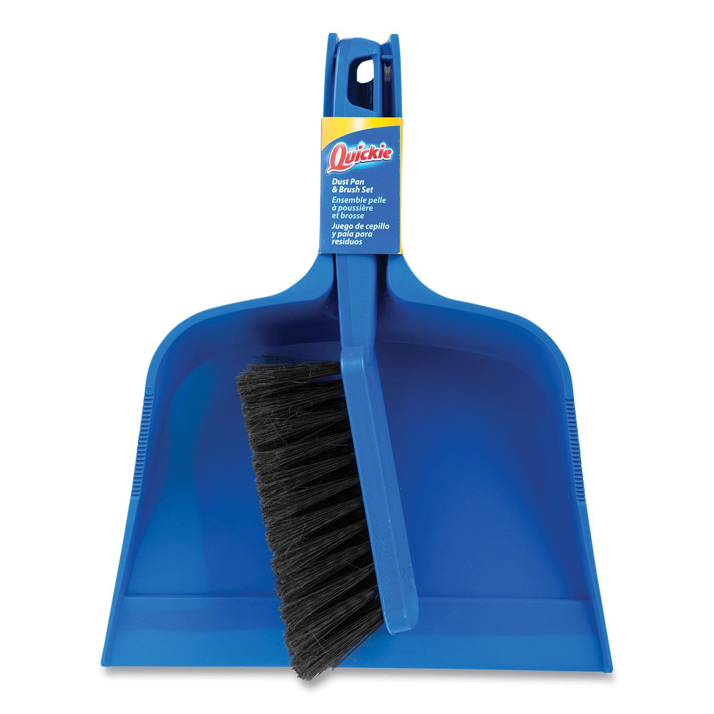 Bulldozer Brush and Dust Pan Set, 10 x 12, Plastic, Blue