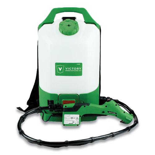 "Professional Cordless Electrostatic Backpack Sprayer, 2.25 gal, 48"" Hose, Green/Translucent White/Black"