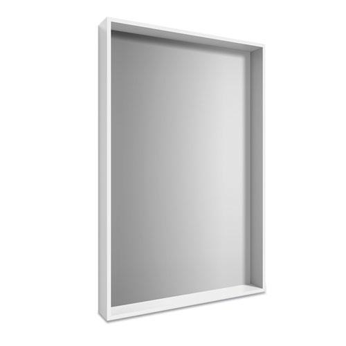 Plastic Frame Wall Mirror, Rectangular, White Frame, 30.78 x 4.96 x 41.5
