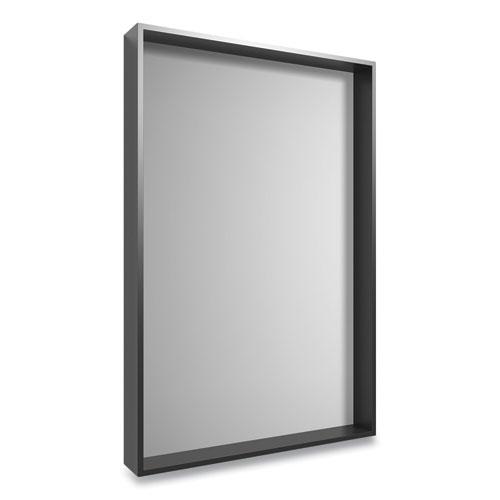 Plastic Frame Wall Mirror, Rectangular, Black Frame, 30.78 x 4.96 x 41.5