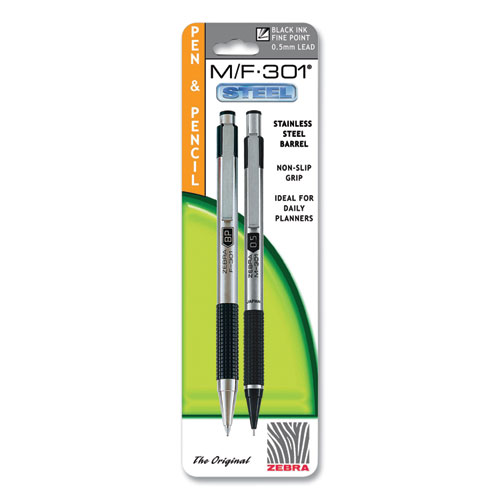 M/F 301 Stainless Steel Retractable Pen and Mechanical Pencil Set, Fine Black Pen,0.5 mm Black Pencil, Stainless Steel Barrel