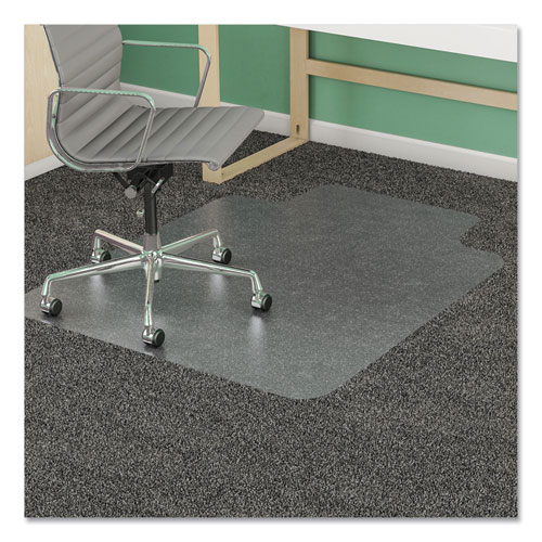 deflecto® Antimicrobial Chair Mat, Medium Pile Carpet, 48 x 36, Lipped, Clear