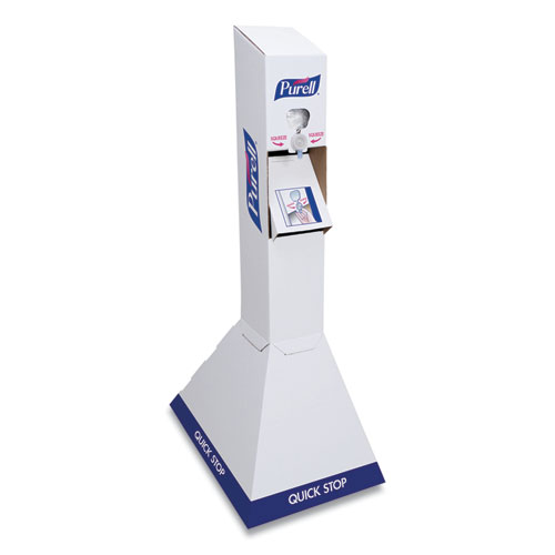 PURELL® Quick Floor Stand Kit with Two 1,000 mL PURELL Advanced Hand Sanitizer Refills, White/Blue, 29 x 29 x 52