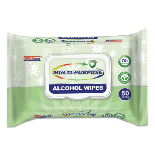 Multi-Purpose Alcohol Wipes, 7.8 x 5.9, White, 50/Pack, 24 Packs/Carton