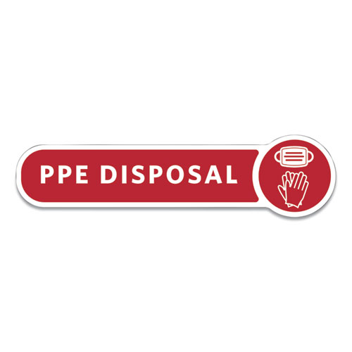 Medical Decal, PPE DISPOSAL, 10 x 2.5, Red
