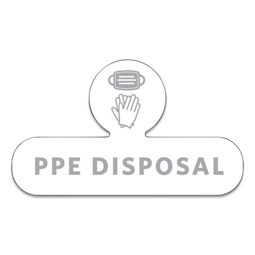 Medical Decal, PPE DISPOSAL, 9.5 x 5.6, White