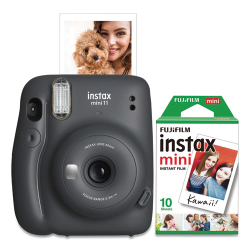 Fujifilm Instax Mini 11 Camera Bundle, Auto Focus, Charcoal