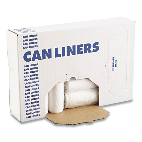 Boardwalk® High Density Industrial Can Liners Coreless Rolls, 60 gal, 13 microns, 38 x 60, Natural, 8 Rolls of 25 Bags
