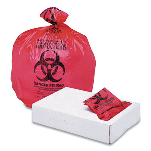 Boardwalk® Linear Low Density Health Care Trash Can Liners, 16 gal, 1.3 mil, 24 x 32, Red, 250/Carton