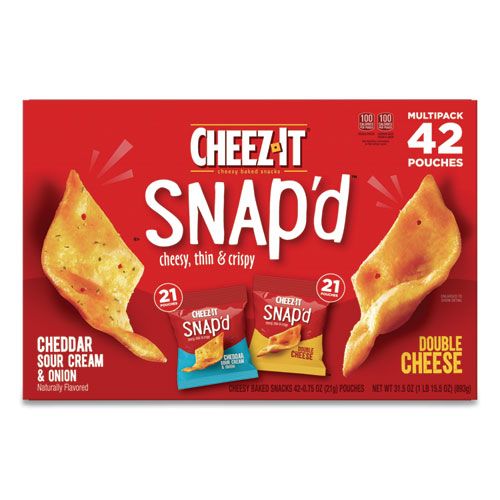 Cheez-It® Snap'd Crackers Variety Pack, Cheddar Sour Cream and Onion; Double Cheese, 0.75 oz Bag, 42/Carton