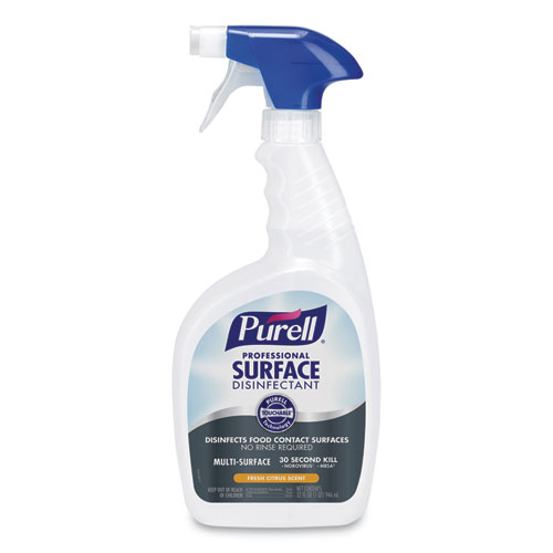 PURELL® Professional Surface Disinfectant, Fresh Citrus, 32 oz Spray Bottle, 6 Bottles and 2 Spray Triggers/Carton